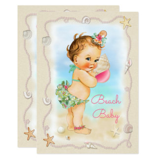 Redhead Beach Baby Conch Shell Baby Shower 13 Cm X 18 Cm Invitation Card