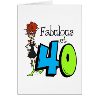 Redhead Fabulous at 40 Birthday Greeting Card