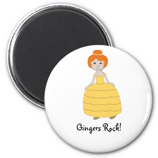 "Redhead Girl in Yellow Dress""Gingers Rock!"" Magnet Refrigerator Magnets"