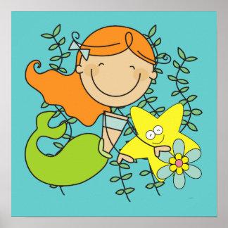 Redhead Mermaid Poster