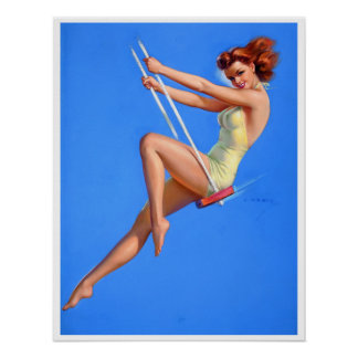 Redhead on Swing Pin Up Poster