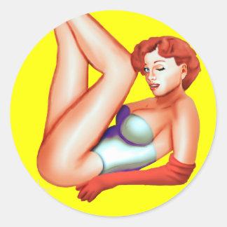 redhead pinup kurt classic round sticker