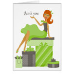 Redhead Pretty Girl Thank You Notes Cards