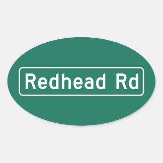 Redhead Road, Street Sign, Iowa, US Oval Stickers