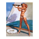 Redhead with Spyglass Pin Up Post Card