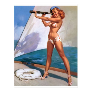 Redhead with Spyglass Pin Up Postcard