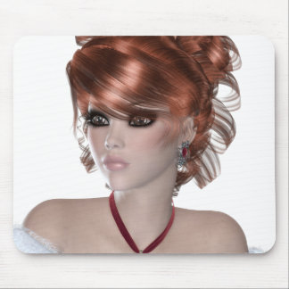 Redhead Woman Mouse Pads