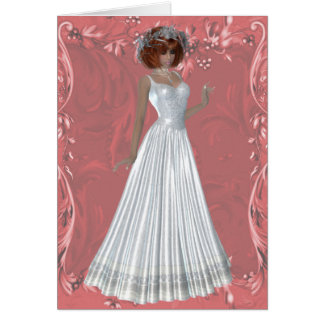 Redheaded Bride - White Gown Design 1 Card