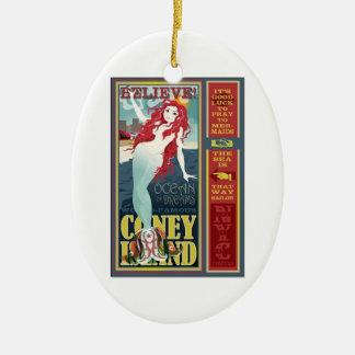 redheaded coney island mermaid beauty ceramic oval decoration