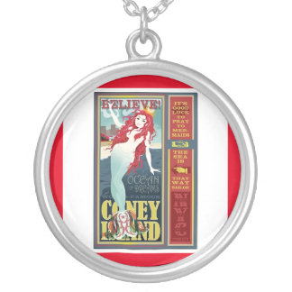 redheaded coney island mermaid silver plated necklace