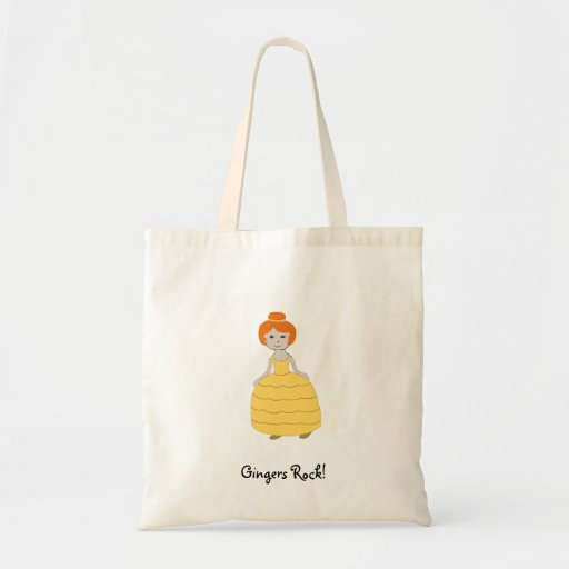 "Redheaded Girl in Yellow Dress ""Gingers Rock!"" Bag Tote Bags"