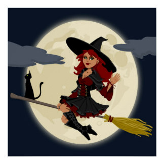 REDHEADED HALLOWEEN WITCH POSTER