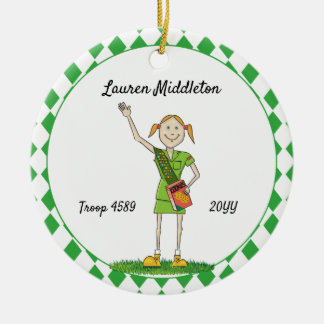 Redheaded Junior Girl Scouting Green Diamond Shape Christmas Ornament