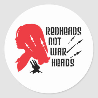 Redheads Not Warheads Round Sticker