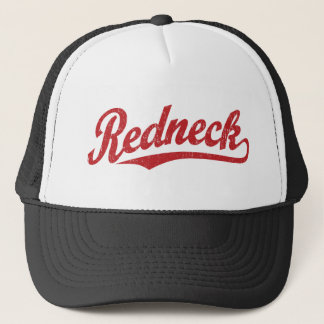 Redneck distressed script logo trucker hat