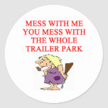 redneck hillbilly joke round sticker