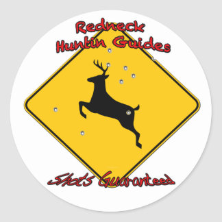 Redneck huntin guide round sticker