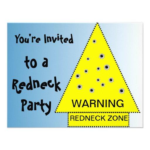 Redneck party invitation Warning, customizable
