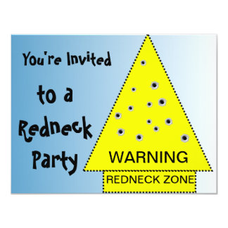 Redneck party invitation Warning, customizable