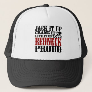 Redneck Proud (Black and Red) Trucker Hat