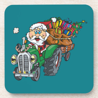 Redneck santa is coming to town on his tractor coasters