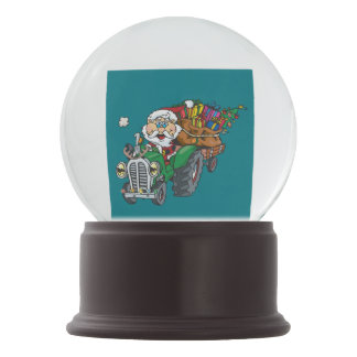 Redneck santa is coming to town on his tractor snow globes