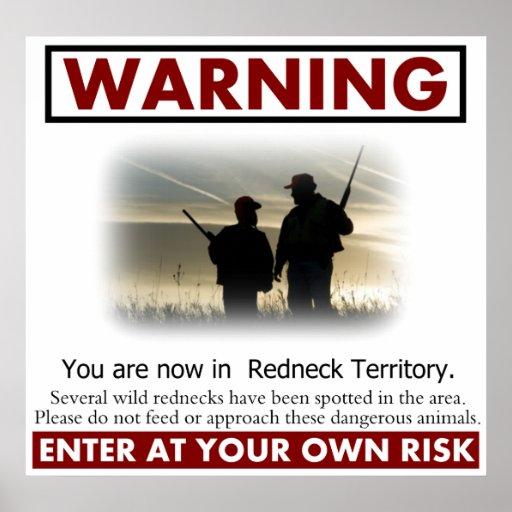 Redneck Territory Warning Poster