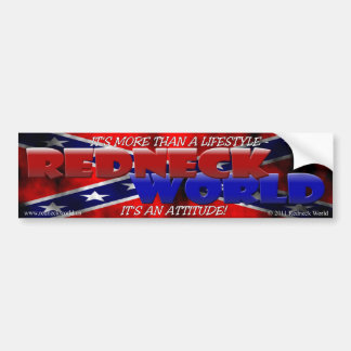 REDNECK WORLD BUMPER STICKER