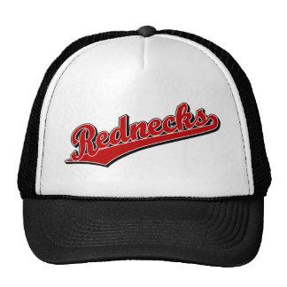 Rednecks script logo in Red Trucker Hats