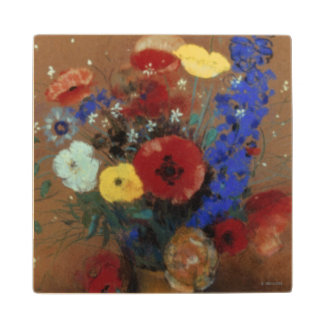Redon: Wild Flowers, C1912 Maple Wood Coaster