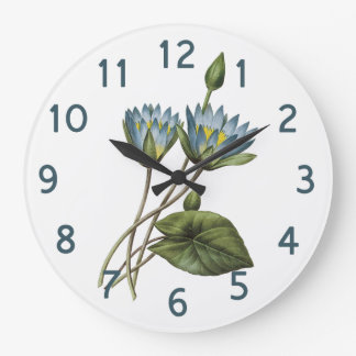 Redoute Blue Lotus Floral Watercolor Large Clock