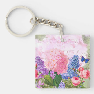 Redoute Flowers Square (double-sided) Keychain