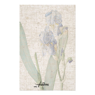 Redoute Iris Flowers Leaves Linen Look Stationery
