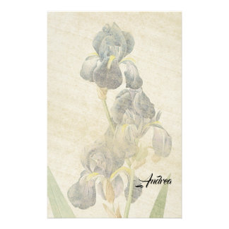 Redoute Iris Flowers Leaves Rice Paper Stationery