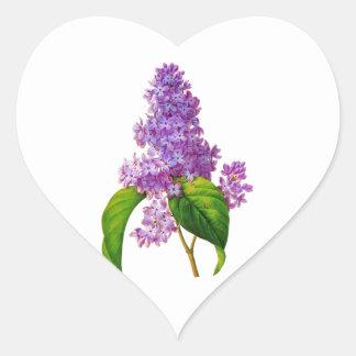 Redoute Lilacs Heart Sticker