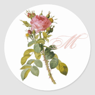 Redoute Rose with Monogram Initial Round Sticker