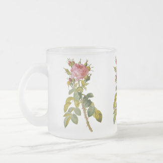 Redoute Single Stem Rose Floral Frosted Glass Mug