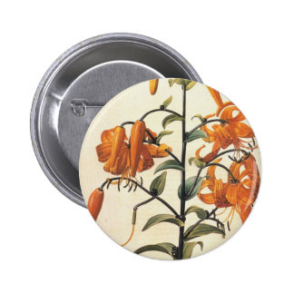 Redoute Vintage Orange Lillies Button