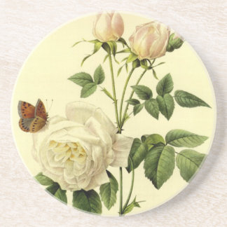 Redoute Vintage Print Bengal Rose the Hymanee Beverage Coaster