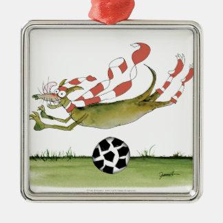 reds soccer dog christmas ornament