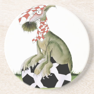 reds soccer dog happy supporter coaster