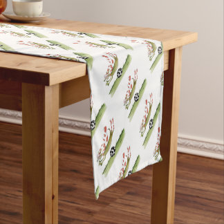 reds soccer dog short table runner