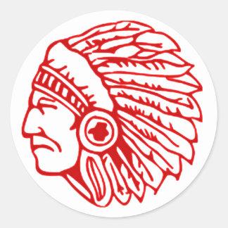 Redskin Red Indian Classic Round Sticker