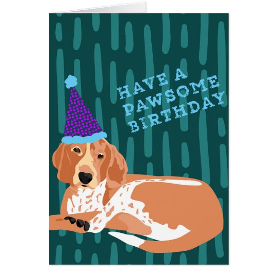 Redtick Coonhound Pawsome Birthday Card