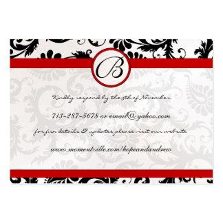 RedTrim Black Damask Response Website Cards Business Cards