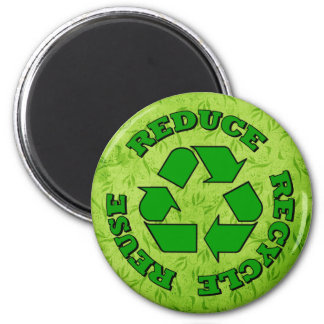 Reduce Recycle Reuse 6 Cm Round Magnet