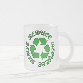 Reduce Recycle Reuse Frosted Glass Mug
