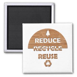Reduce Recycle Reuse Fridge Magnet