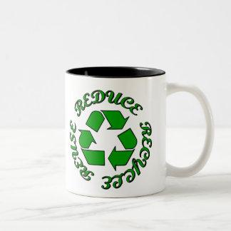 Reduce Recycle Reuse Two-Tone Mug