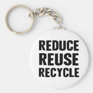 Reduce Reuse Basic Round Button Key Ring